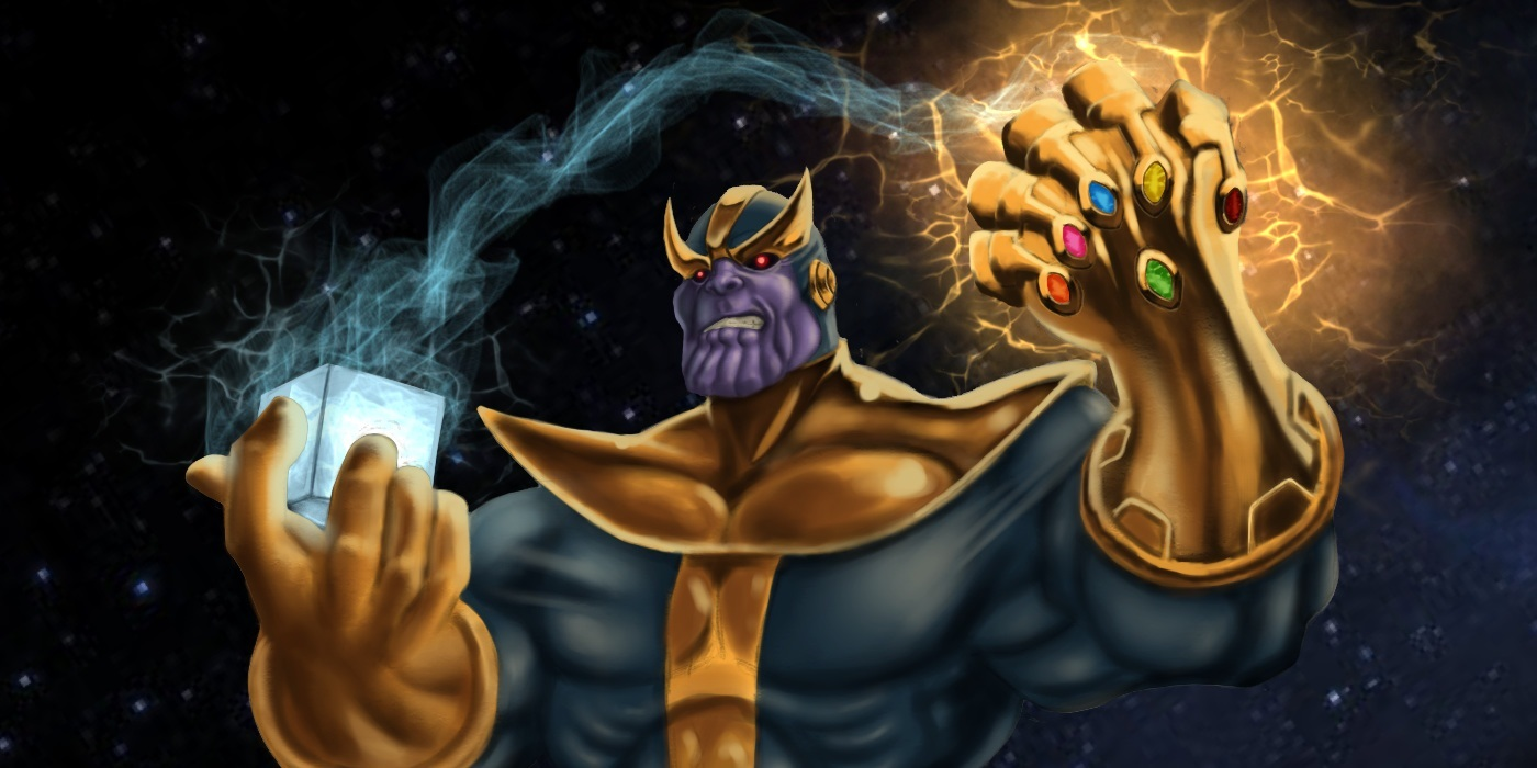 Thanos With Cosmic Cube Android Red