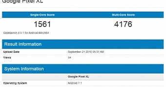 Google Pixel XL Running Android 7.1 Nougat Shows Up on Geekbench