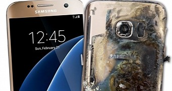 Samsung galaxy s7 catches fire in a busy coffee shop