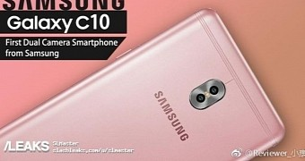 Samsung galaxy c10 in rose gold with dual camera setup leaks