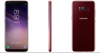 Samsung launches its galaxy s8 android smartphone in burgundy red color