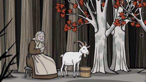 Old woman with goat