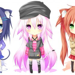 Chibi anime girls with cat ears