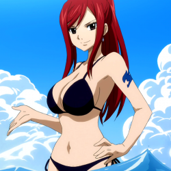 Erza scarlet in swimsuit swimming