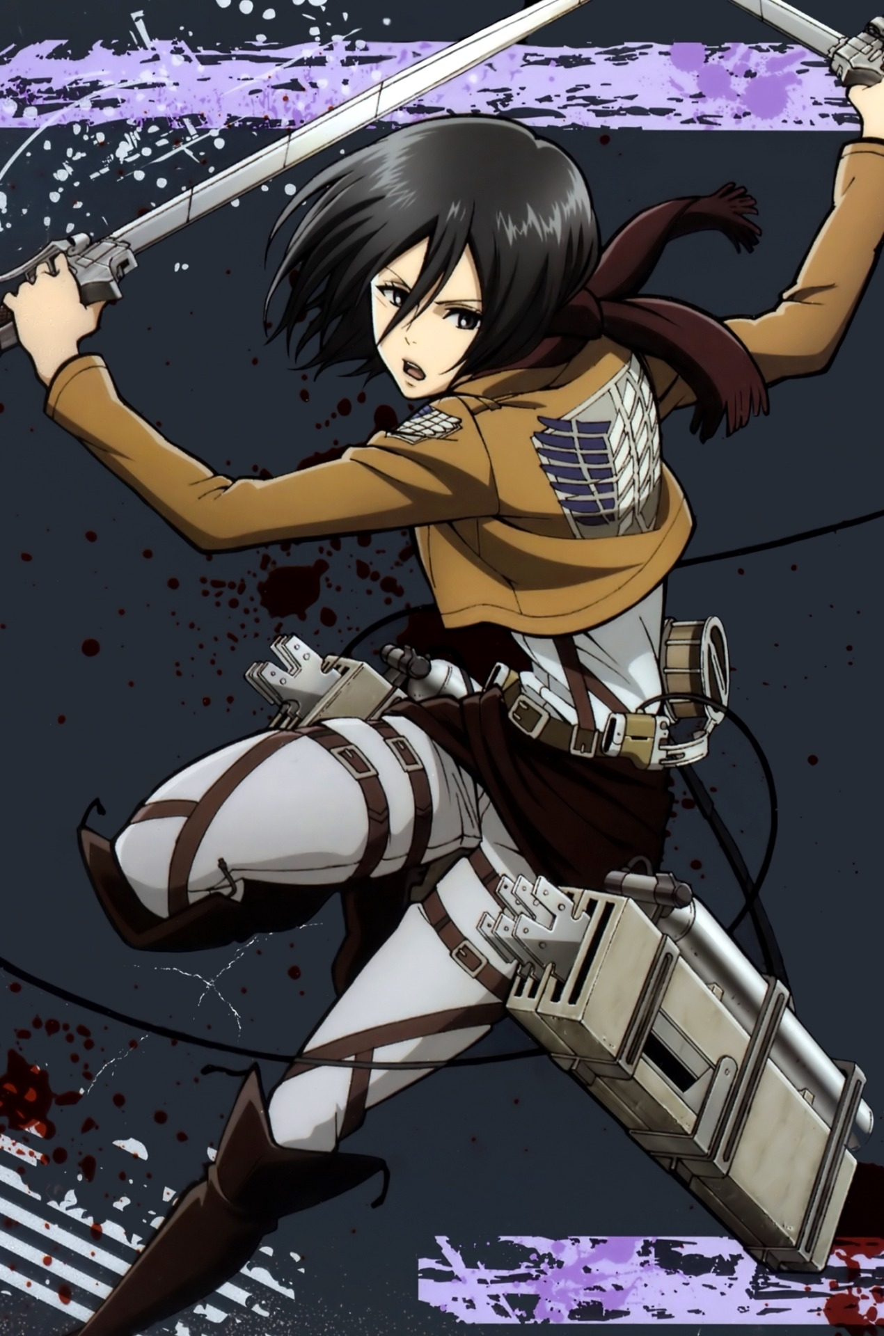 Mikasa Ackerman Tablet Background Android Red