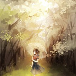 Anime girl by herself in woods