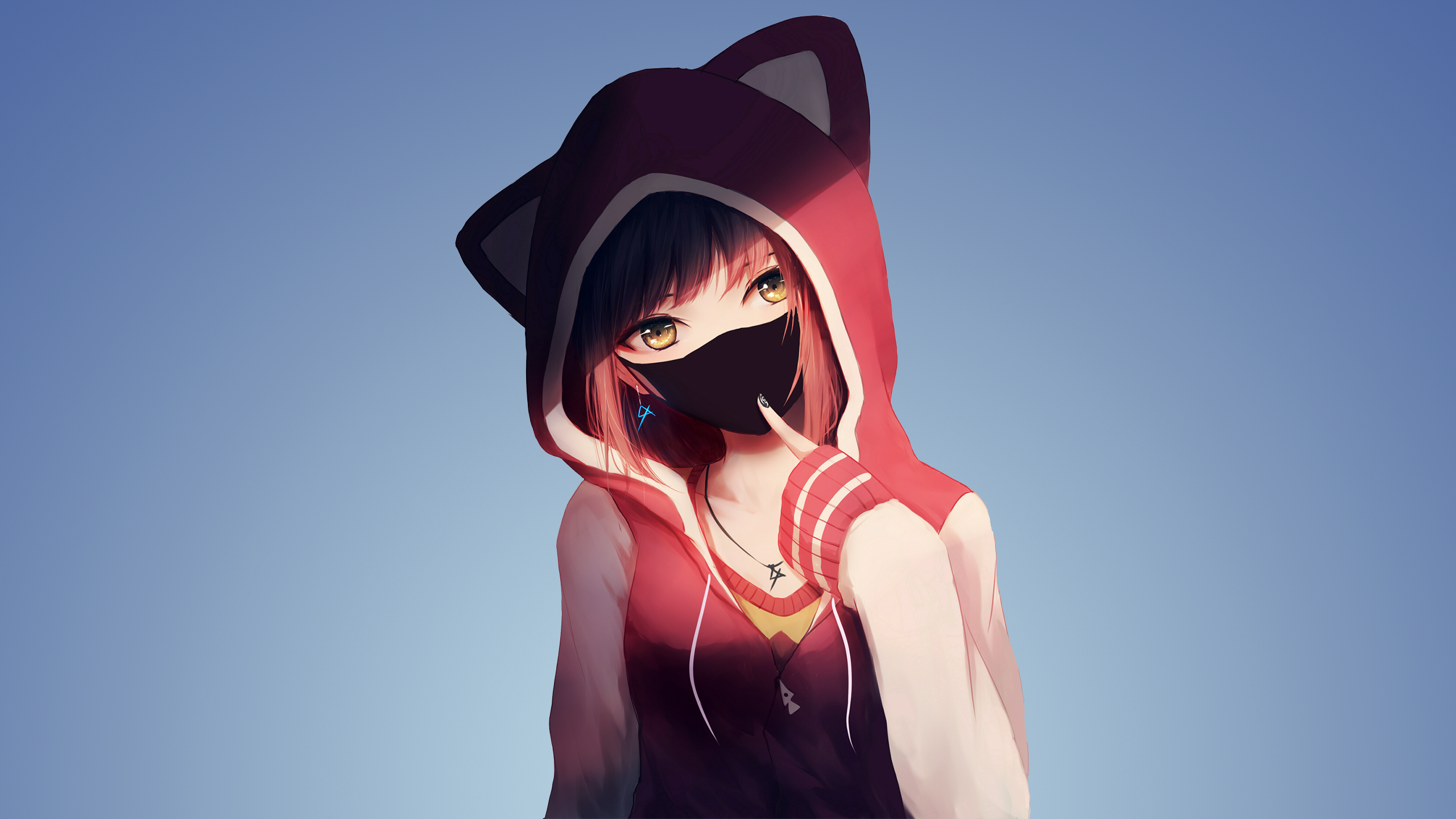 Cool Anime Girl With Mask Android Red