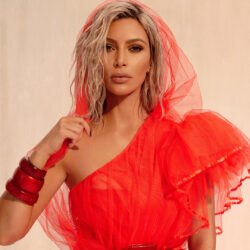 Kim k red outfit photoshoot