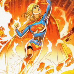 Supergirl flying through the sun