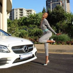 With her benz car