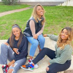 With sisters wearing nike